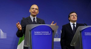 European Commission President Jose Manuel Barroso welcomes Prime Minister of Italy Enrico Letta