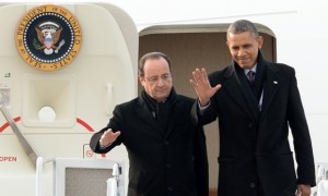 President of France Francois Hollande and US President Barack Obama arrive in Charlottesville, Virginia